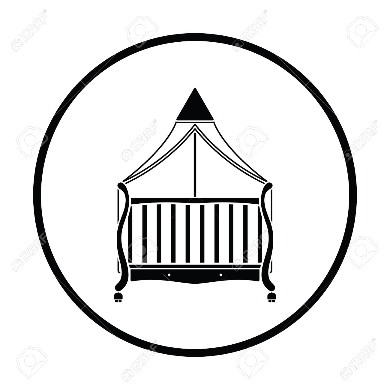 1300x1300 Crib With Canopy Icon. Thin Circle Design. Vector Illustration