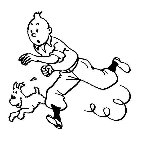 600x607 Tintin And Snowy Pursuit Criminal In The Adventures Of Tintin