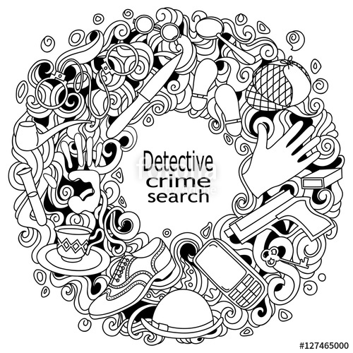 500x500 Cartoon Cute Doodles Hand Drawn Detective And Criminal Vector