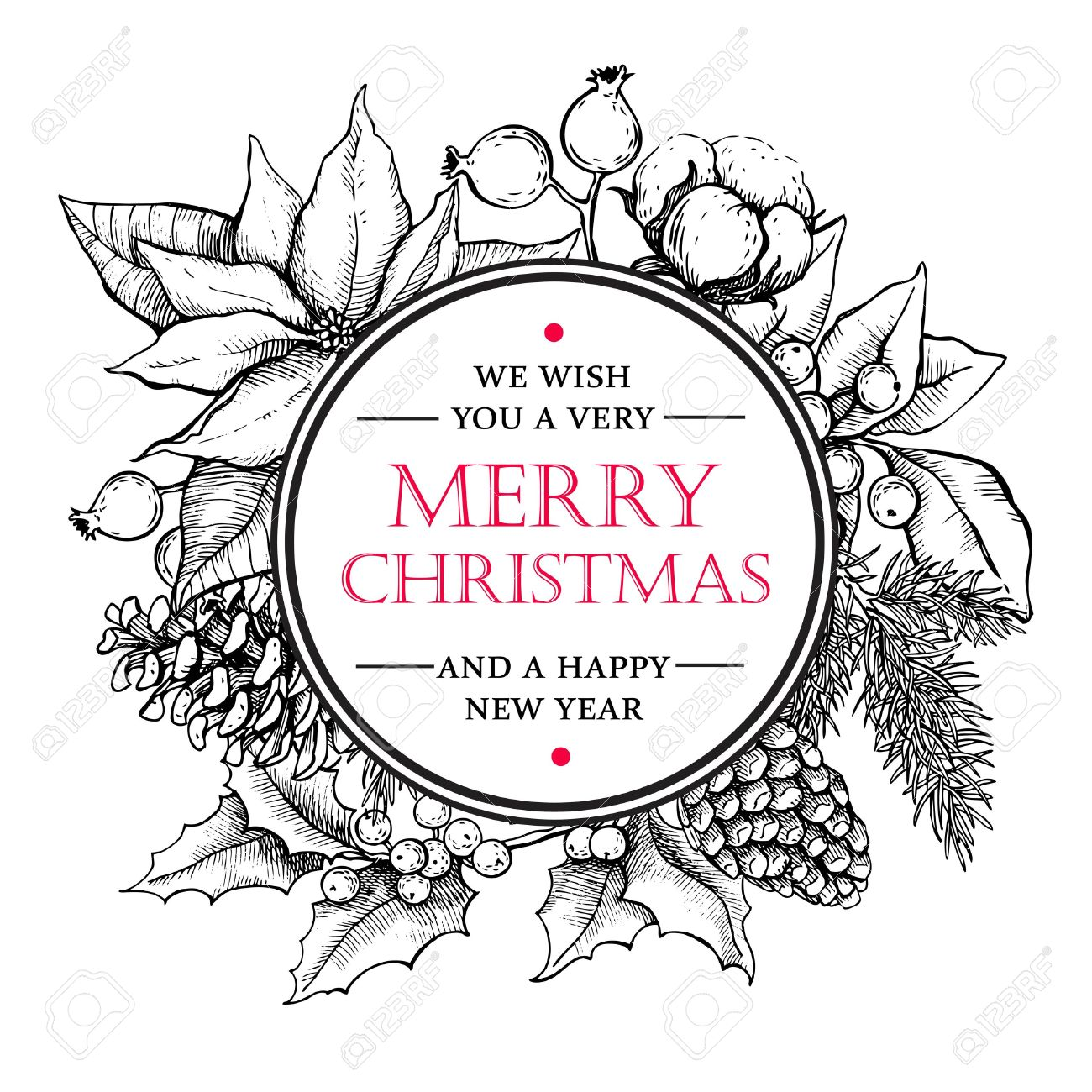 1300x1300 Hand Drawn Retro Merry Christmas Accessories Vector