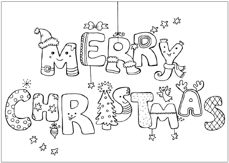 800x569 Happy Christmas Merry Coloring Page Printable For Humorous Draw