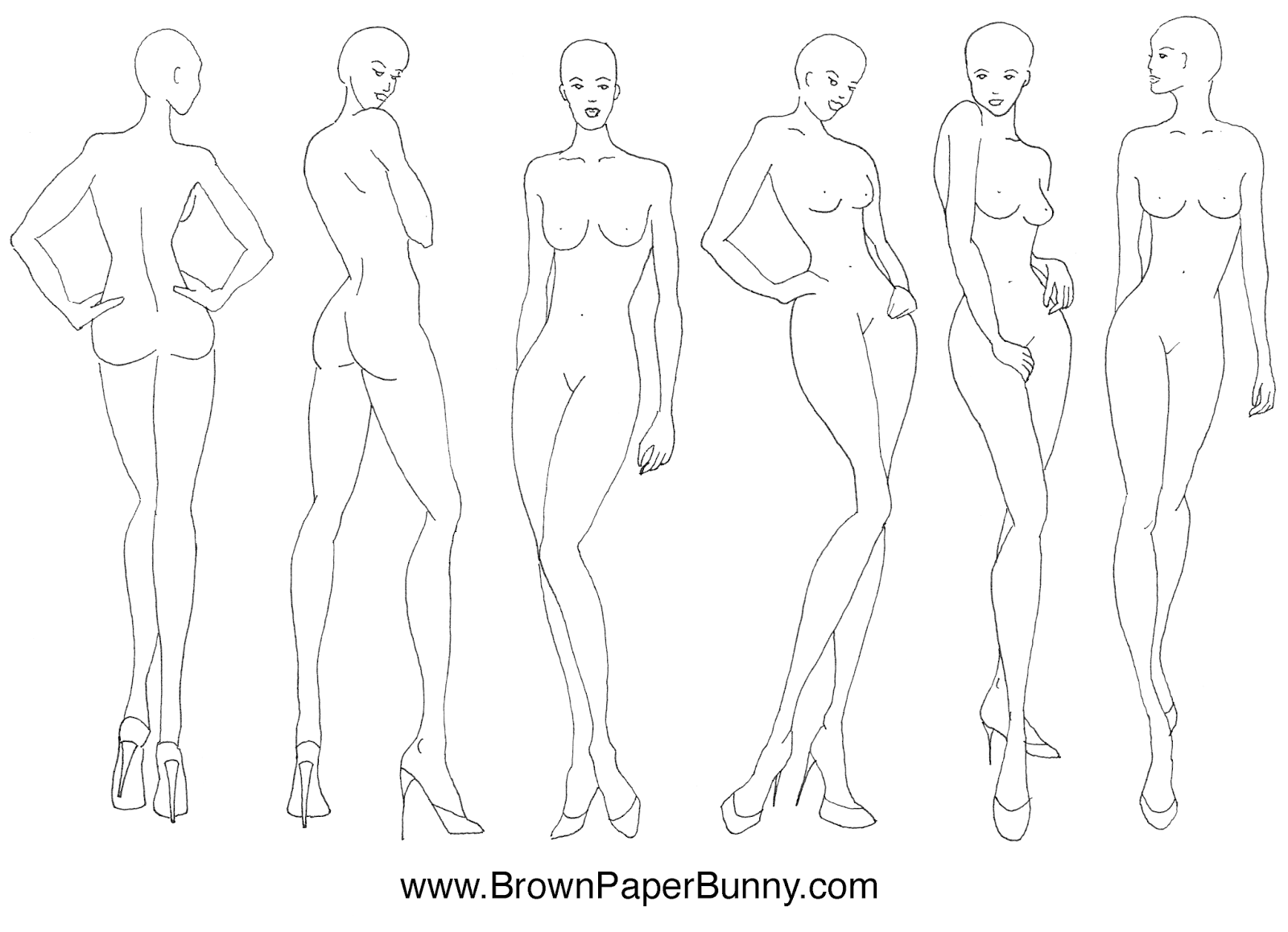 1600x1158 Fashion Illustration Croquis Brown Paper Bunny Studio