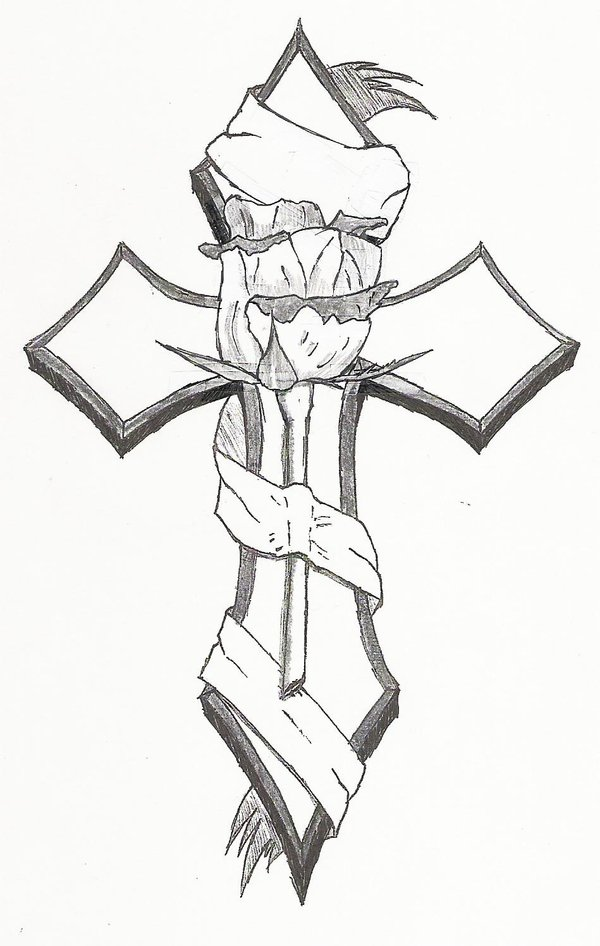 Cross And Rose Drawing