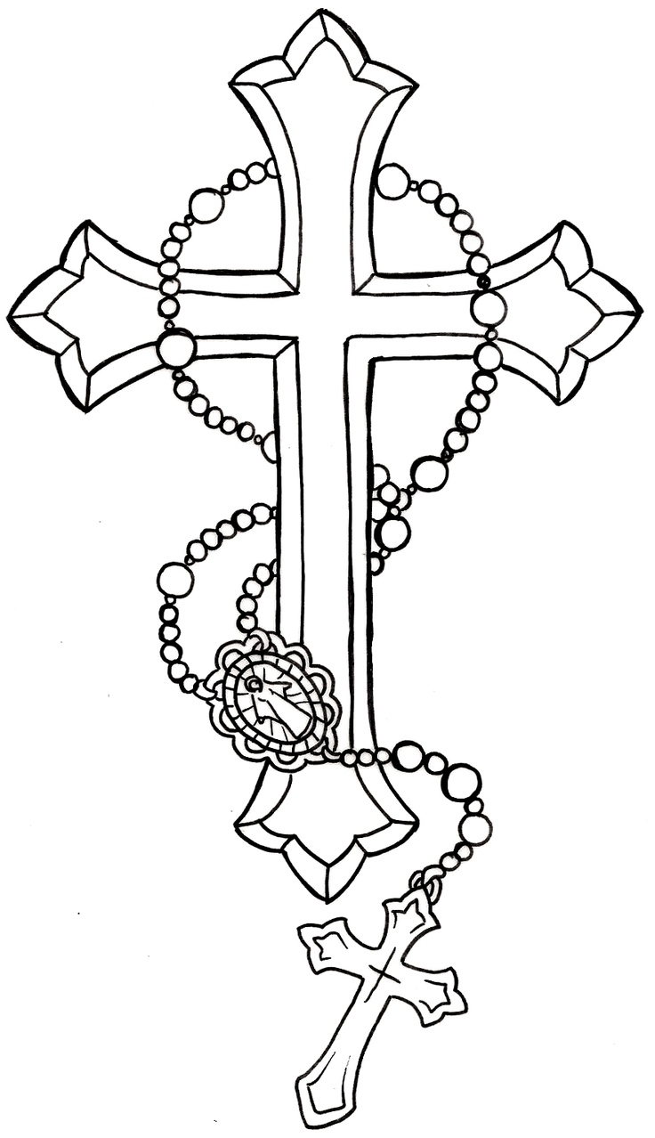 736x1278 Black Cross With Rosary Cross Tattoo Stencil By Metacharis