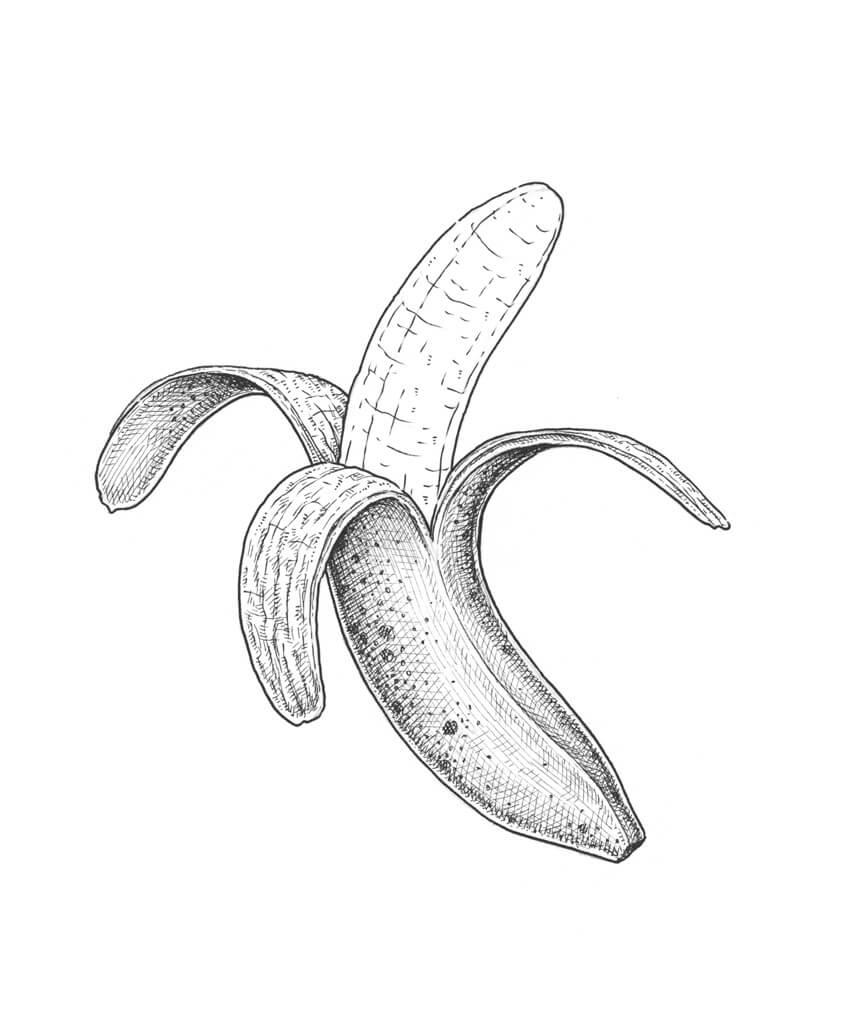 850x1033 How To Draw A Banana Sowela Art