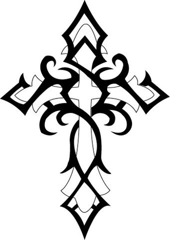341x480 Collection Of Tribal Cross Tattoo Design