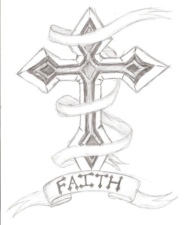 600x726 Cross Outline Tattoo Designs Cross Tattoo Design By ~the Sketch