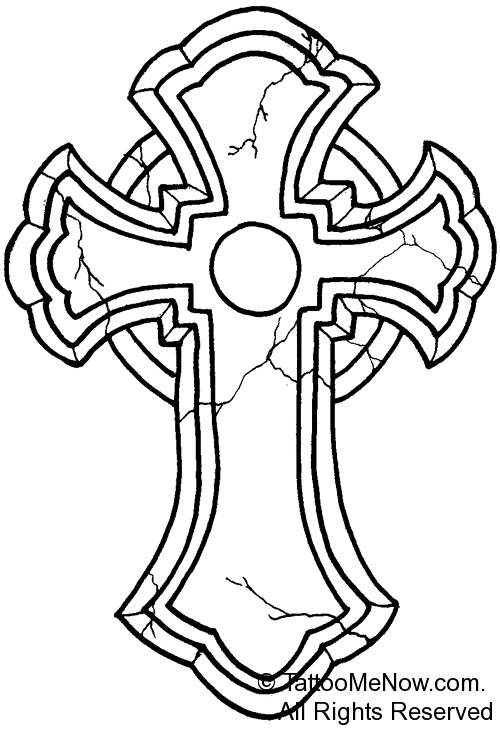 500x731 Cross Outline Tattoo Designs Your Free Tattoo Designs Amp Stencils