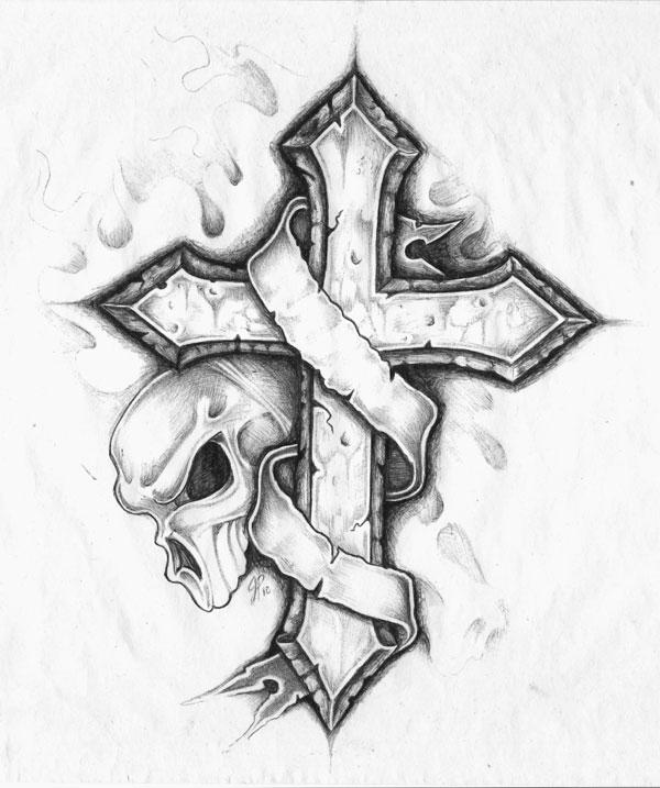 600x717 Cross And Skull W Banner By Yodahimself