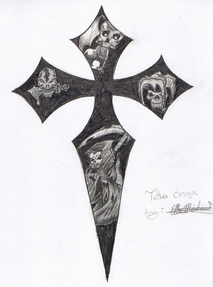 715x960 Cross And Skulls By Silentreaper666