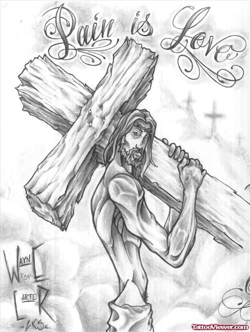 500x665 Grey Ink Cross And Jesus Tattoo Design Tattoo