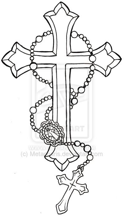 400x695 Cross With Rosary Tattoo By