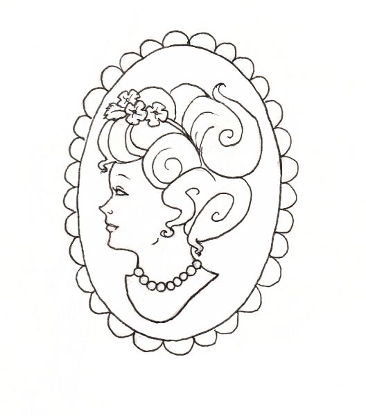 528x600 Cameo Designs For Tattoos Drawings Cameo Tattoo Design By