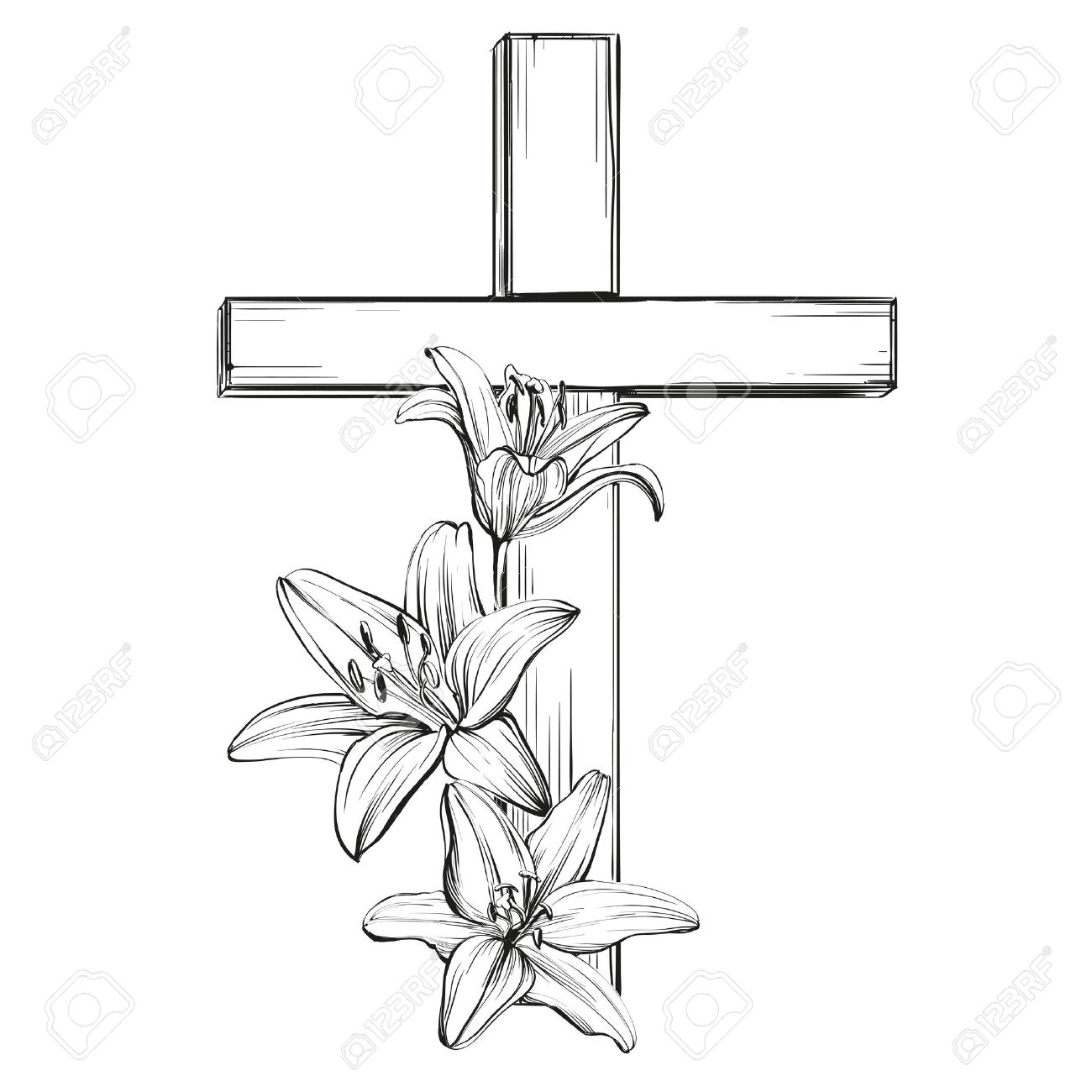 1300x1300 Cross And Floral Blooming Lilies, A Symbol Of Christianity Hand