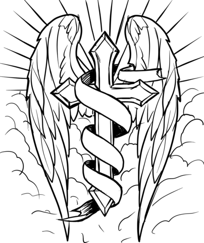 404x480 Cross With Wings In The Clouds Coloring Page Free Printable