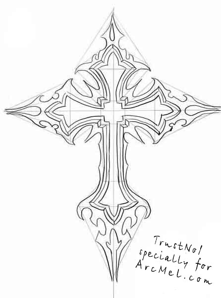 446x600 How To Draw A Cross Step By Step