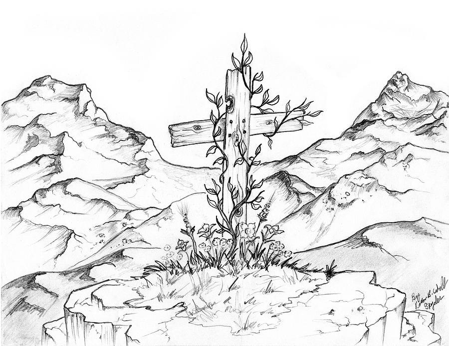 900x694 Mountain Cross Drawing By Robbin Webb