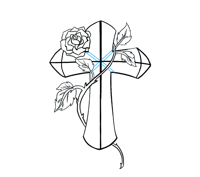 678x600 How Draw A Rose Cross How