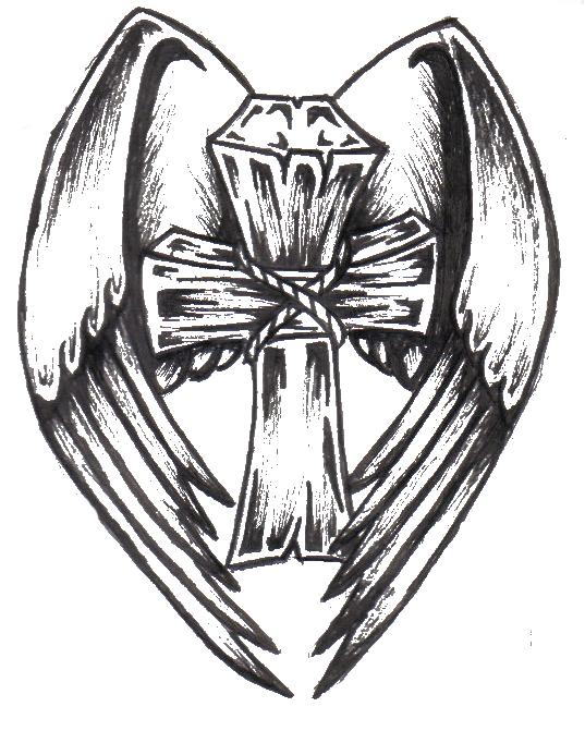 537x671 Winged Cross Flash Sketch By Narfikinz