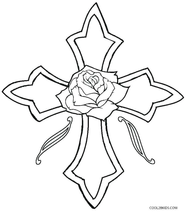 743x850 Coloring Pages Crosses Simple Angel Wings
