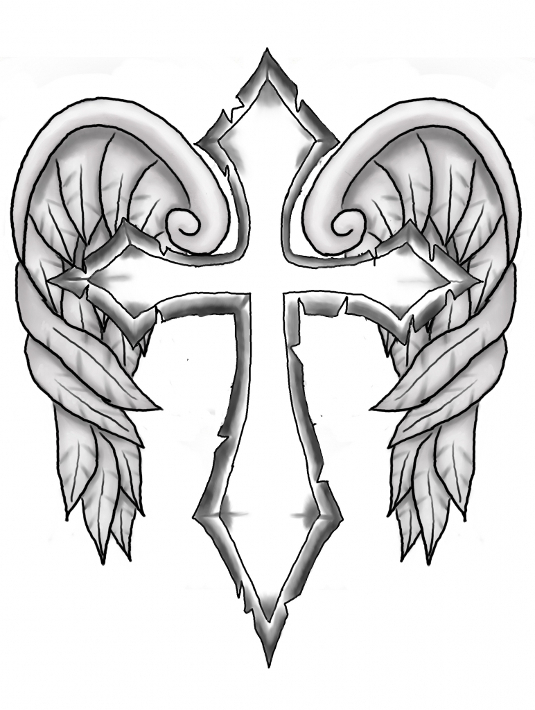 772x1024 Cool Cross Drawings How To Draw A Cross With Wings, Stepstep