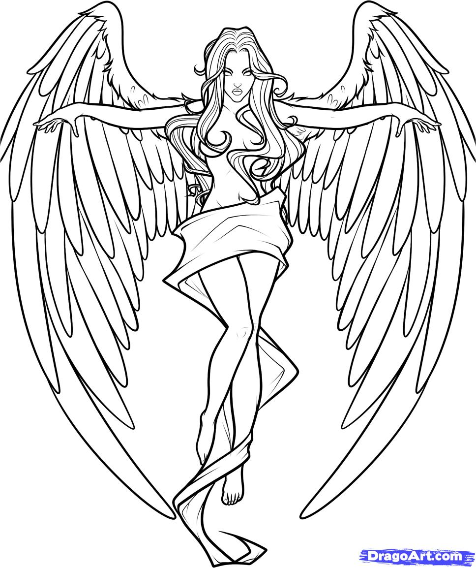 968x1154 Gothic Angel Coloring