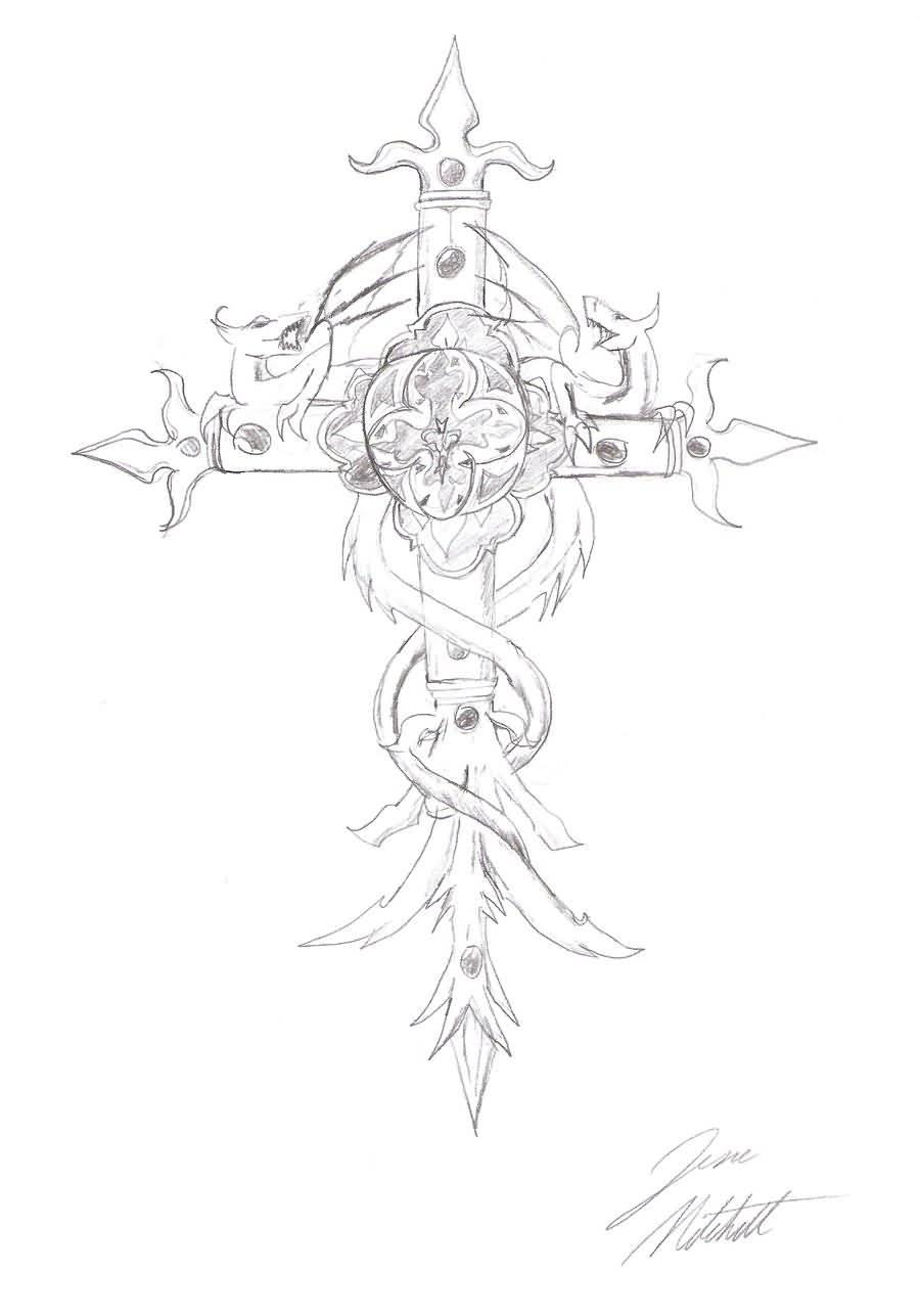 900x1287 Gothic Tattoos ~ Marvelous Cross Design