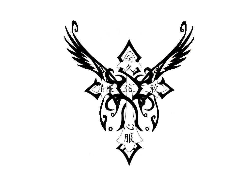 1024x768 Medieval Gothic Cross Tattoo Design Photo