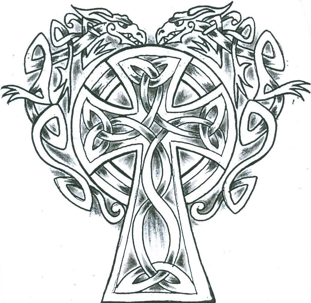 1035x1008 Simple Celtic Dragons Cross Tattoo Design