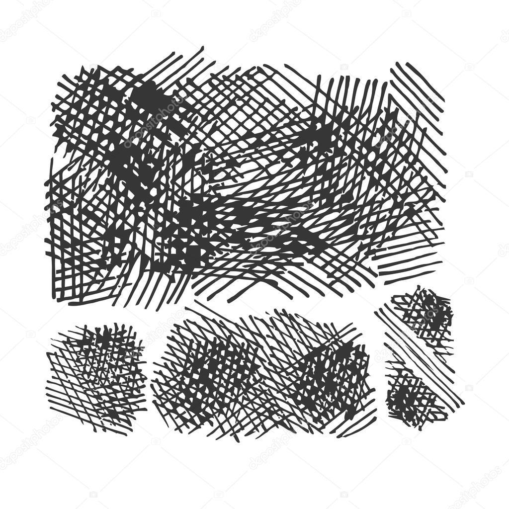 1024x1024 Grunge Crosshatching Textures Set. Vector Eps8 Stock Vector