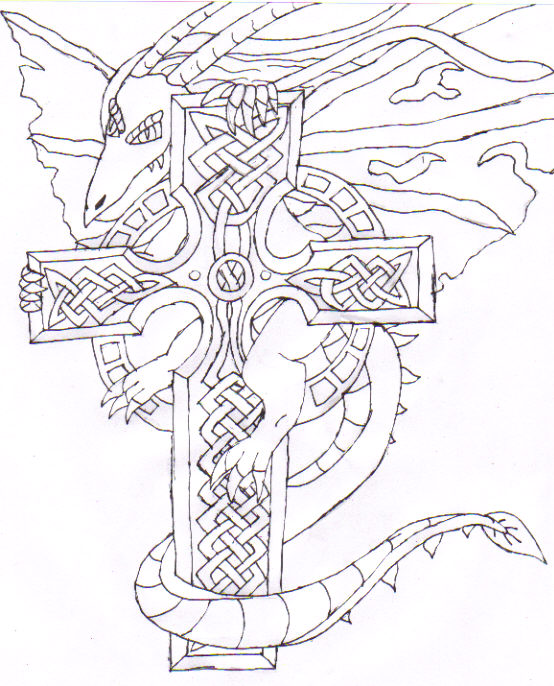 554x686 Dragon A Celtic Cross By Yami Dokuro