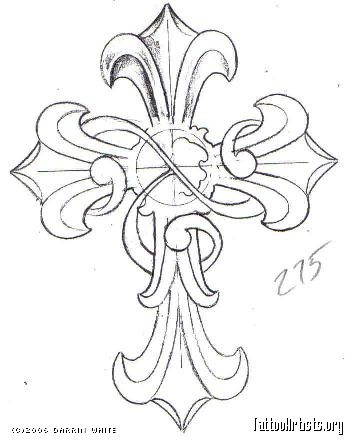 352x443 Gallery For Cross Drawings With Banner Tattoo