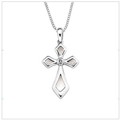 400x400 Diamond Cross Necklace, Children's Cross Necklace