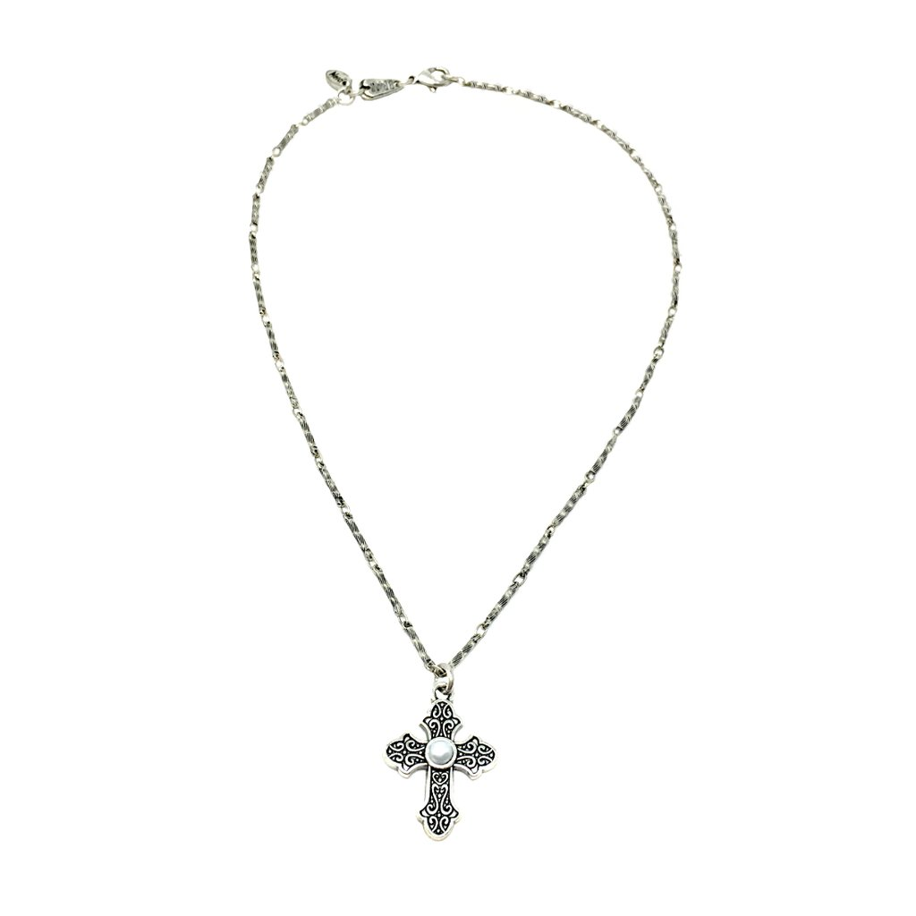 1024x1024 Gemstone French Cross Pendant Christian Necklace In Silver Gold