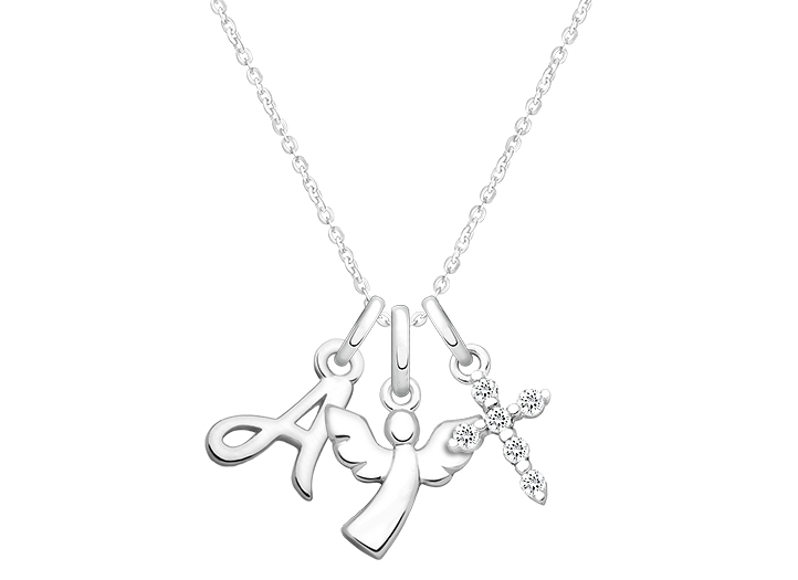 722x525 Guardian Angel Inital Necklace Set (Includes Chain, Cursive