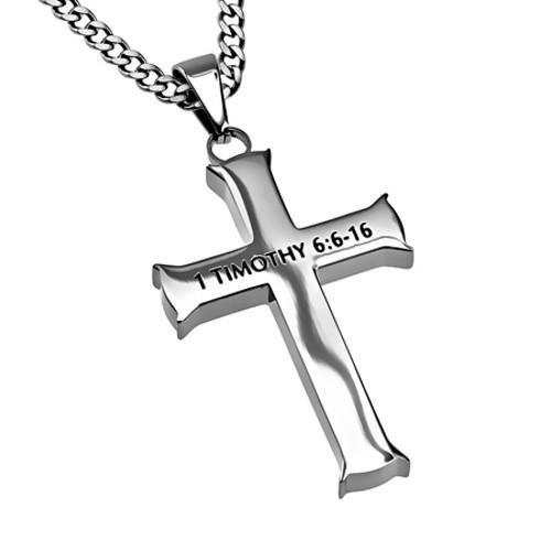 500x500 Man Of God Necklace Cross For Men, 1 Timothy Bible Verse
