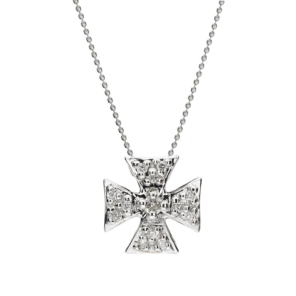 1024x1024 Mini Maltese Cross Necklace With White Sapphires In Silver