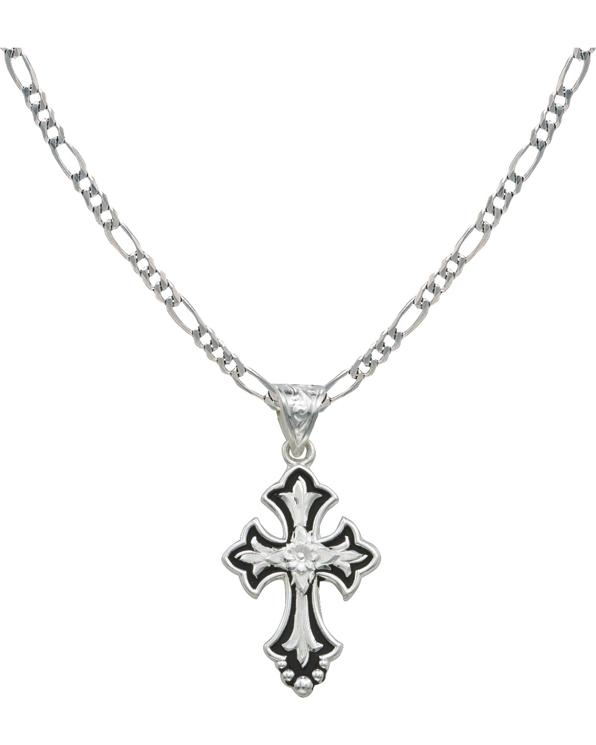 1200x1500 Montana Silversmiths Silver And Black Cross Necklace Boot Barn