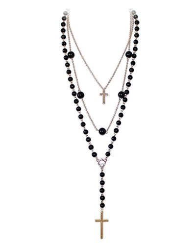 400x500 Multi Chain And Cross Rosary Necklace Ac0020082