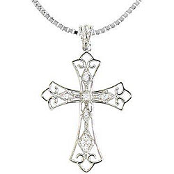 250x250 Sterling Silver 110ct Tdw Diamond Vintage Style Cross Necklace