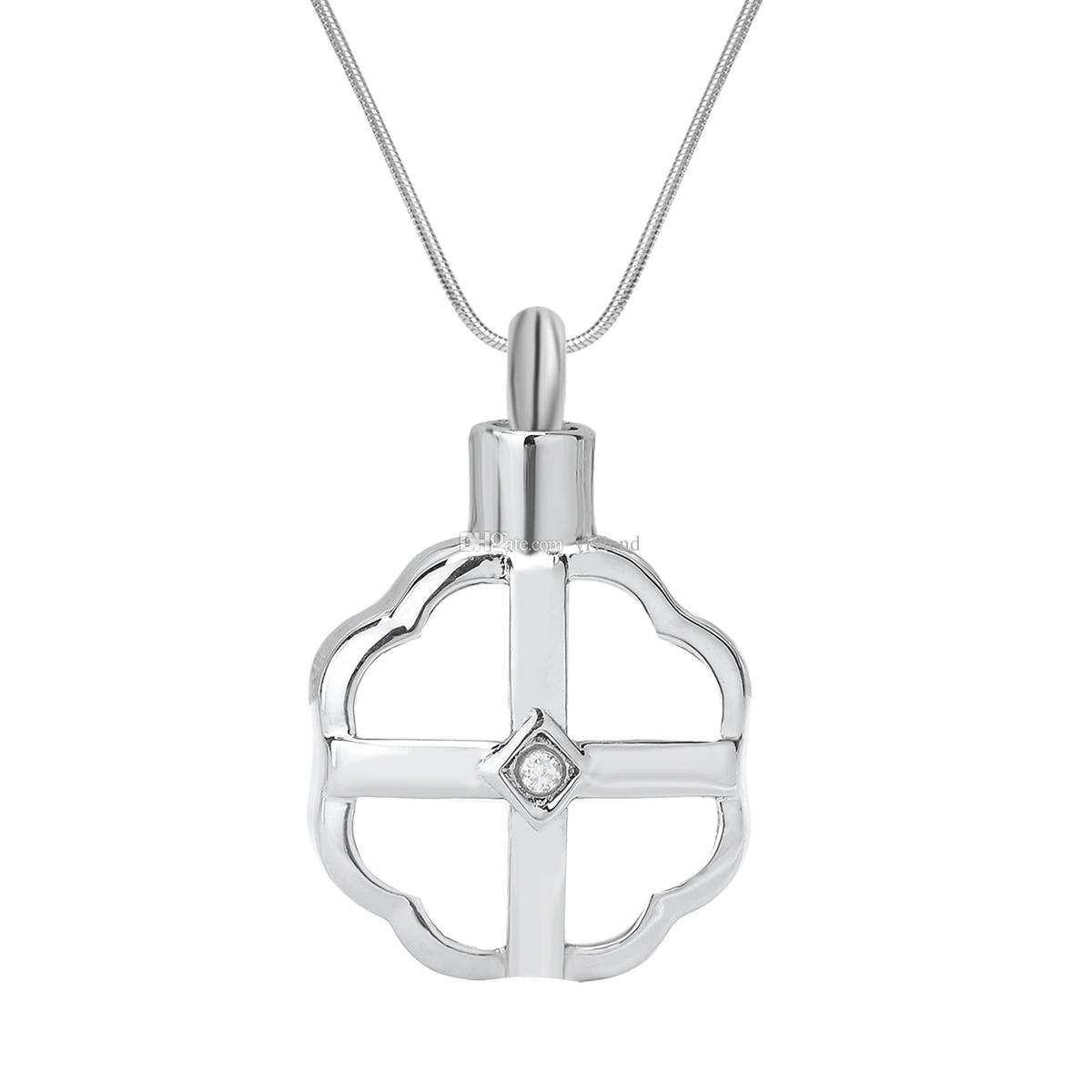 1200x1200 Wholesale Cremation Urn Necklace Cross In Flower Crystal Memorial