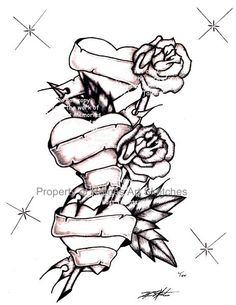 236x305 Pencil Sketches Of Hearts And Roses Group