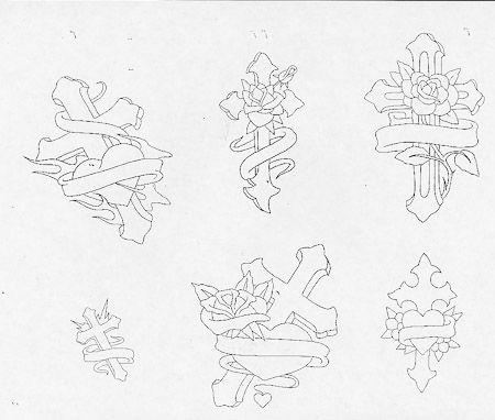 450x382 Cross Tattoo Flash Outline Tattoo Temple