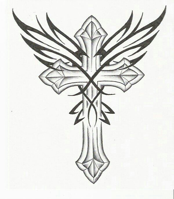 600x686 Wings Over Cross Sketch Drawing Designs Drawing
