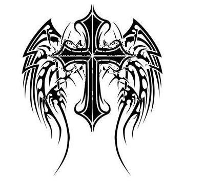 400x376 Sketches Of Crosses Cross With Angel Wings By ~aj Kidman