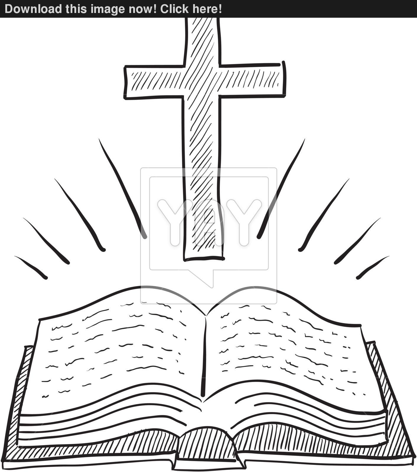 1412x1600 Bible And Cross Sketch Vector