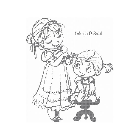 570x570 Cross Stitch Pattern Anna And Elsa Sisters Childhood