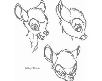 340x270 Cross Stitch Pattern Bambi Vintage Sketch Portrait Disney Film