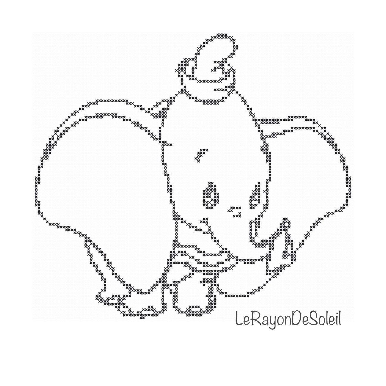 1296x1296 Cross Stitch Pattern Dumbo From Disney Film Little Elephant