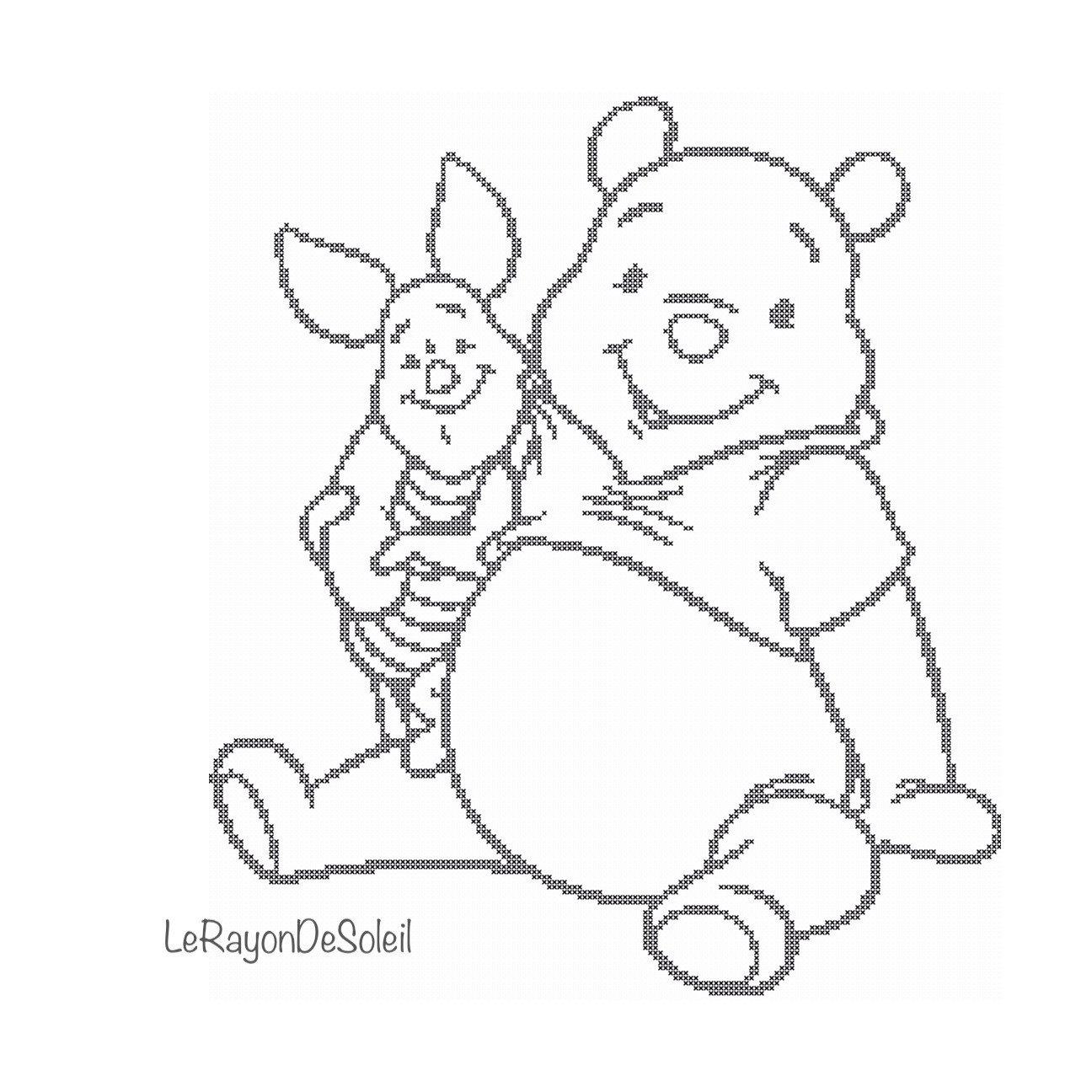 1296x1296 Cross Stitch Pattern Winnie The Pooh And Piglet Disney Decor Baby